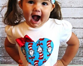 Baby Girl/Toddler Dr. Seuss Cat and the Hat shirt with custom name, one piece bodysuit, blue, red, heart, Birthday shirt, Back to school