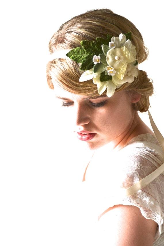 Cream Flower Crown, Floral Crown, Head Wreath, Wedding Hair Accessory, Bridal Hair, Cream Flower, Bridesmaid, Flower Girl, Sash - BUTTERCUP