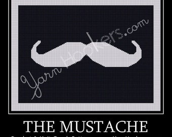 The Mustache - Afghan Crochet Graph Pattern Chart - Instant Download