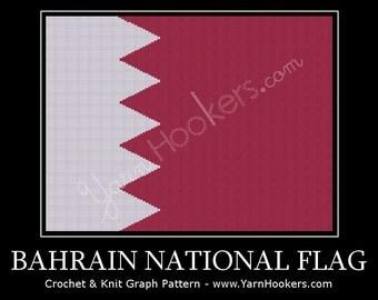 Bahrain National Flag - Afghan Crochet Graph Pattern Chart - Instant Download