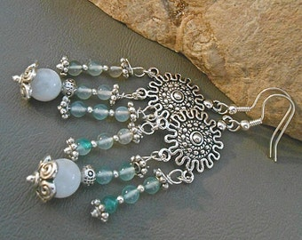 Blue and White Quartz Chandelier Earrings Tibetan Silver Aztec Style Connector Tibetan Silver Daisy Spacers & End Caps Gift