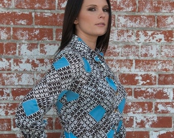 """60's Sky-Blue Geometric & Brown """"W"""" Patterned Dress The Wilroy traveler of New York"""