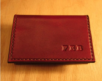 Leather Business Card Holder, Leather Card Case, Business Card Case,  Personalized Wallet,  Mini Wallet, Oxblood Card Case, Card Holder