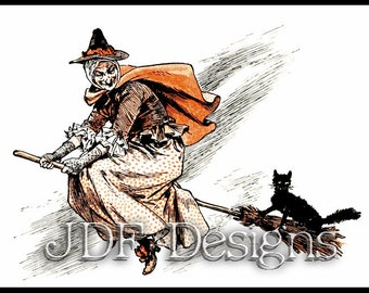 Instant Digital Download, Vintage Victorian Graphic Ephemera, Witch on Broom with Cat, Halloween, Printable Image, Scrapbook