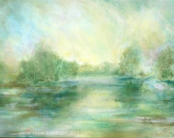 Impressionist Landscape Painting-- Lake View in Yellow