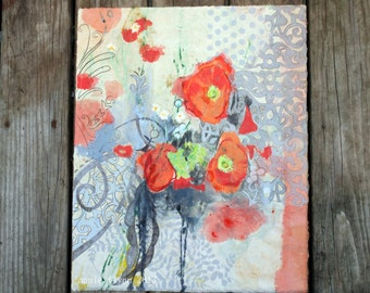 Poppy with Gray Damask