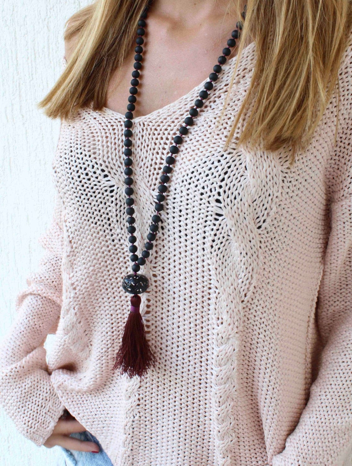 black beaded tassel necklace long beaded necklace knots. Black Bedroom Furniture Sets. Home Design Ideas