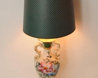 Mid Century Handpainted Roses Lamp SIGNED