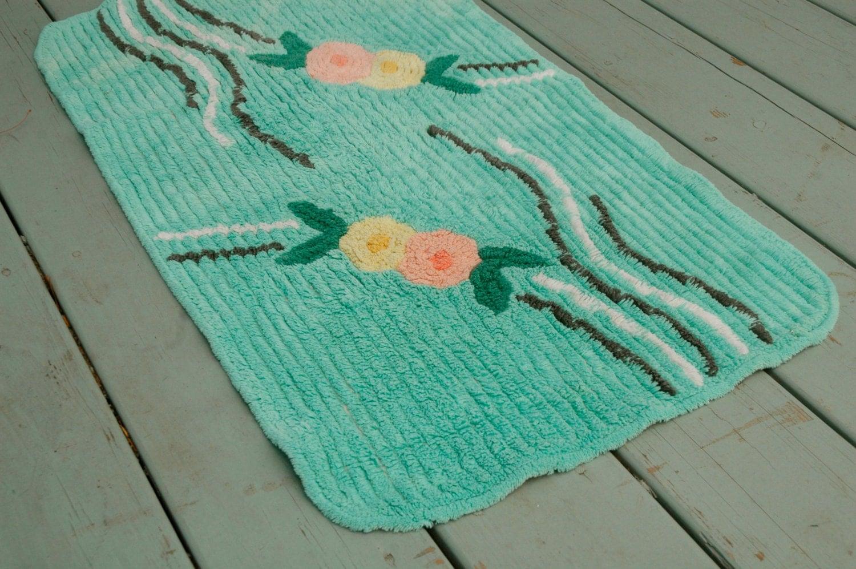 vintage chenille roses bath rug mint green 1950s