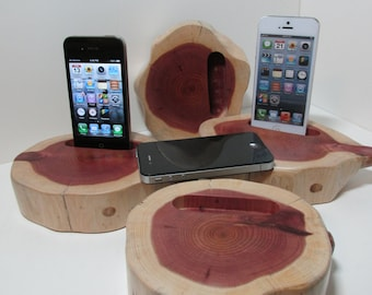 Hand made (USA)  iPhone 4 or  iPhone 5 and 6 and 6 plus charging & docking station and pen and pencil desk caddy made from cedar wood.
