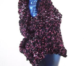 Dark Butterfly- A sensuous wrap, Cowl, Infinity Scarf, Hood, Shawl, Chenille, Vegan-friendly