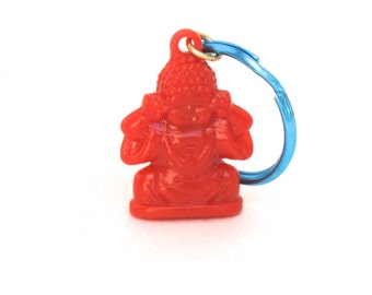 Red Buddha Keychain, Red and Blue, Buddhist Keychain, Yoga Keychain, Yoga Gift, Buddhist Gift, Stocking Stuffer
