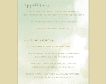 Watercolor Wedding Menu Card, Watercolor Menu Card, Watercolor Background Menu Card, Painted Menu Card, Watercolor Menu, Shower Menu Cards