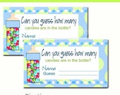 Candy Game Guess How many Baby Shower: Blue & Green Set of 10  Instant Download Digital in English