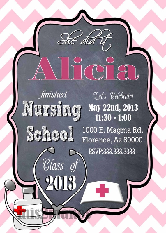Nursing Medical Degree Graduation Party Invitation Graduation