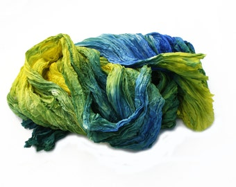 blue silk scarf -May Field -  yellow, green, chartreuse, blue, sky blue silk scarf.