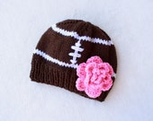Girls Football Beanie with Hot Pink Flower. Girl Football Beanies. Football Accessories for kids. Fall and Winter Accessories
