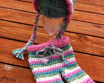Multi Colored Striped Crocheted Pixie Bonnet and pants set- Made to Order- Any Size