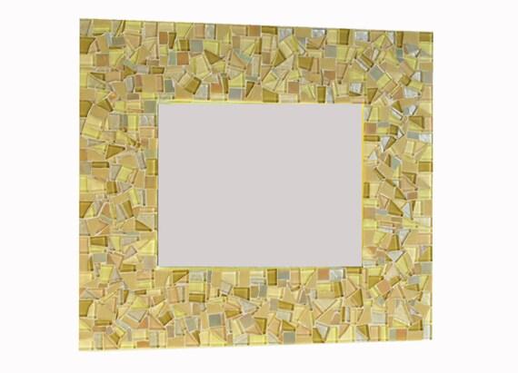 Yellow and Gold  Mosaic Mirror, Wall Art