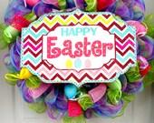 LARGE! Happy Easter Wreath - Easter Mesh Wreath - Deco Mesh Wreath - Top Hat Bunny Wreath - Mesh Door Decoration - Bunny Ear Wreath