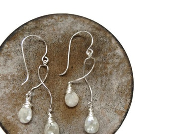 Mystic White Sapphire Chandelier and Long Dangle Sterling Silver Earrings