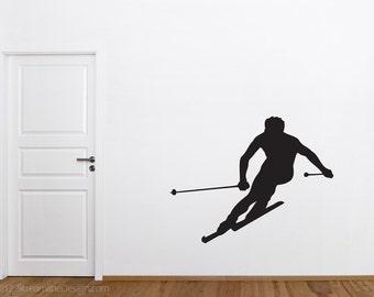 Downhill Skiing Removable Wall Vinyl, downhill skier sking wall vinyl sticker skier decal sports winter sports ski enthusiast winter fun
