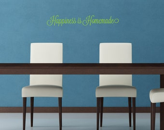 Happiness is Homemade Removable Vinyl Wall Art, wall sticker words handmade goods gift for crafter craftroom wall decor family room