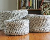Crochet Baskets, Handmade Baskets, Chunky Crochet Baskets  in Oatmeal Tweed- Set of 3