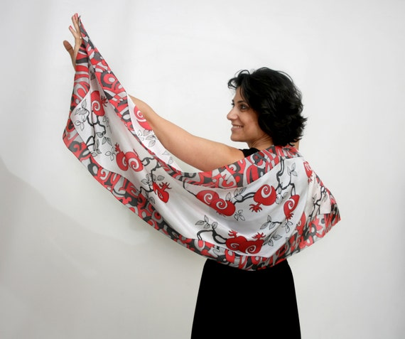 Hand painted silk scarf in classic red, black and white colors. Ready to ship.