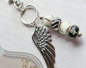 Key Chain with charm beads and silver feather charm