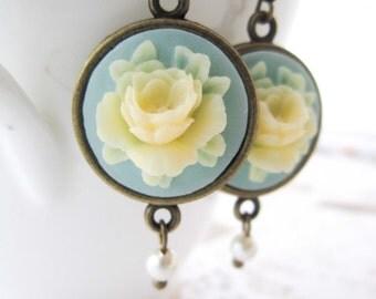Blue Cameo Earrings - Vintage Rose Swarovski Pearl Regency Style