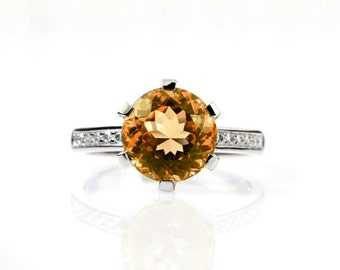 2.00ct Citrine ring, Diamond, engagement ring, Diamond ring, Citrine engagement, yellow, solitaire, Diamond