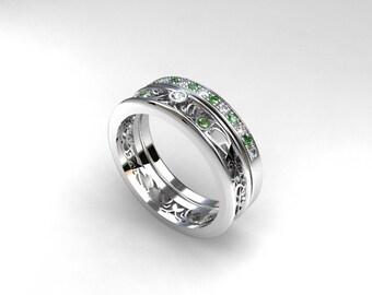 Engagement ring set, green diamond ring, filigree engagement ring, half eternity wedding, green diamond wedding, unique ring set, custom