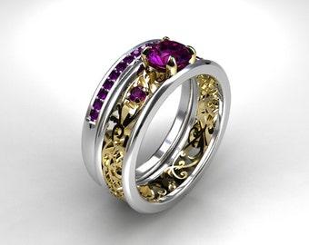 Filigree engagement ring set,  amethyst engagement ring, amethyst wedding ring, white gold, yellow gold, wedding set, purple, half eternity