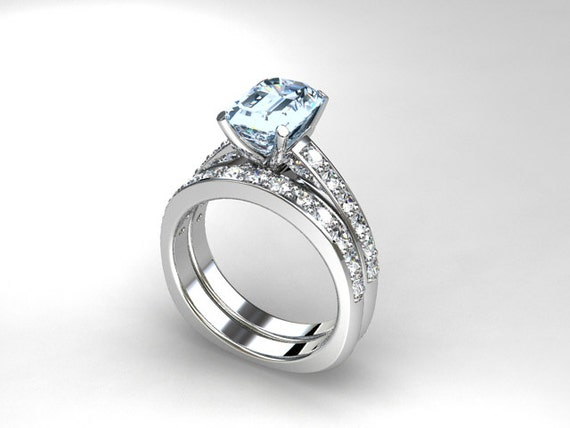 aquamarine engagement ring set emerald cut by
