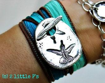 Bird Watcher Gift Nature Jewelry Earthy Sweet Hummingbirds Artisan Silk Wrap Bracelet