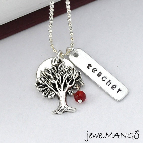 Teacher necklace, apple tree necklace, teachers appreciation necklace, gifts for teacher,apple, red,tree pendant,silver necklace, meaningful