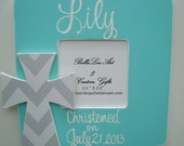 Childs painted personalized grey chevron print teal cross baptism picture frame