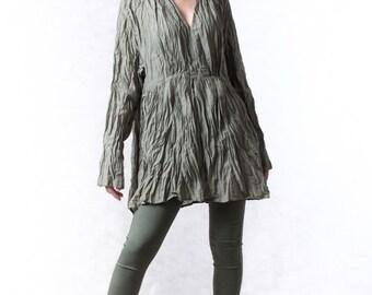 NO.96 Olive Cotton Ruched V-Neck Blouse, Crinkle Long-Sleeved Top