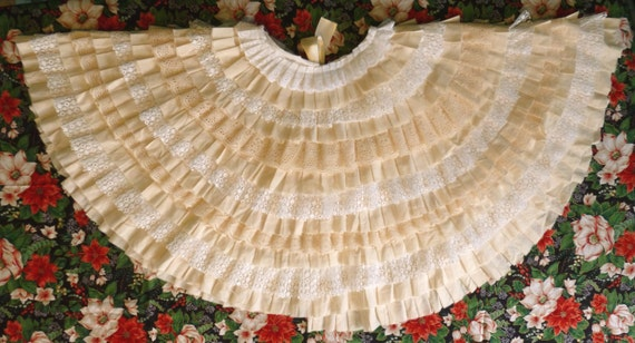 Items similar to ruffle christmas tree skirt muslin lace
