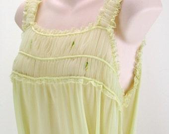 Vtg 60s flirty Lemon chiffon Nylon Nightgown sweet roses ~ soft belt ~ Greek goddess  L-XL