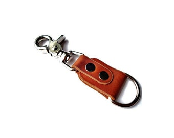 Customizable Leather Key Chain with Swivel Snap Lever