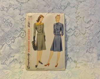 1940s Original Simplicity Printed Two Piece Suit Pattern Size 16 Unused Factory Folded With Instructions Rockabilly