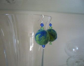Felt Bead Earrings in Blue and Green