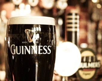 Guinness Photograph - Temple Bar Print - Dublin Photography - Irish Photo - Ireland - Pint of Guinness - Vintage Beer Print - Eire