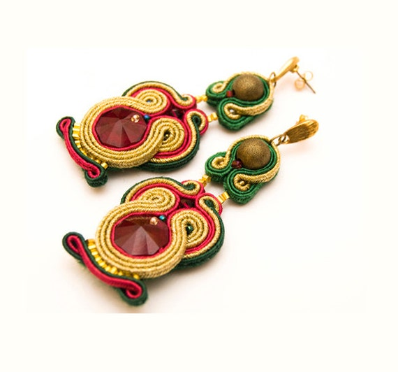 Egyptian embroidered gold earrings with Swarovski crystals, soutache (ruby, emeralnd green and gold)