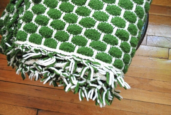 Sale vintage afghan blanket knit crochet fringe throw - Emerald green throw blanket ...