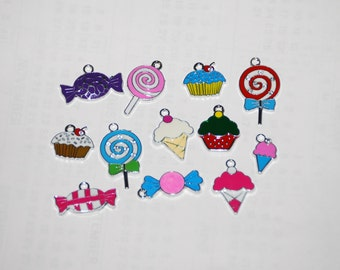 Five colorful candy enamel charms, lollipops, cupcake, ice cream 4 jewelry making, scrapbooking, birthday gifts, purse clips, zipper pull