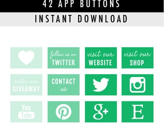 42 Social Media App Buttons/Icons for website/blog/more - Instant Download - Green