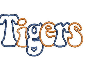 Tigers Applique Embroidery Design (83) Instant Download
